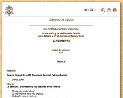 Disponible en español Documento preparatorio al Sínodo ordinario sobre la Familia