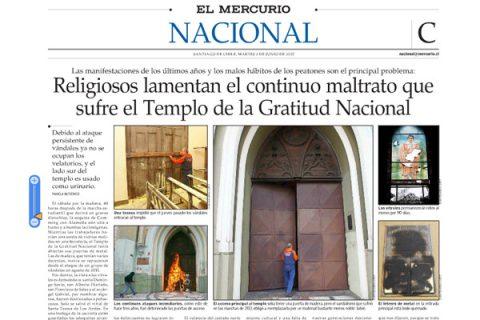 El Mercurio da cuenta del maltrato permanente que sufre la Gratitud Nacional