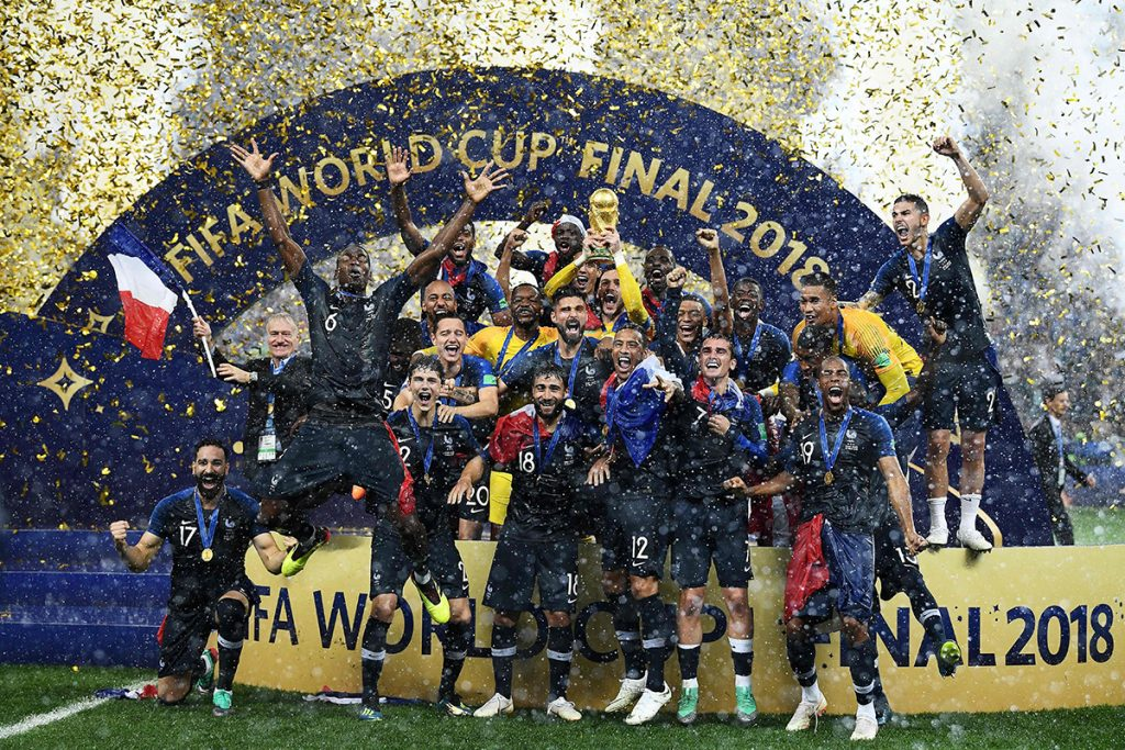 zzzzinte1France's players celebrate as they hold their World Cup trophy during the trophy ceremony at the end of the Russia 2018 World Cup final football match between France and Croatia at the Luzhniki Stadium in Moscow on July 15, 2018. / AFP PHOTO / FRANCK FIFE / RESTRICTED TO EDITORIAL USE - NO MOBILE PUSH ALERTS/DOWNLOADS zzzz