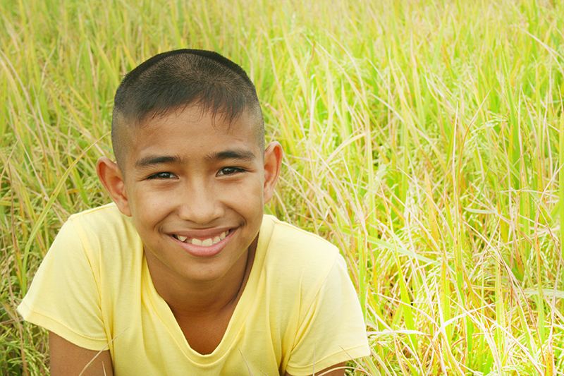 Happy boy with rice field background.