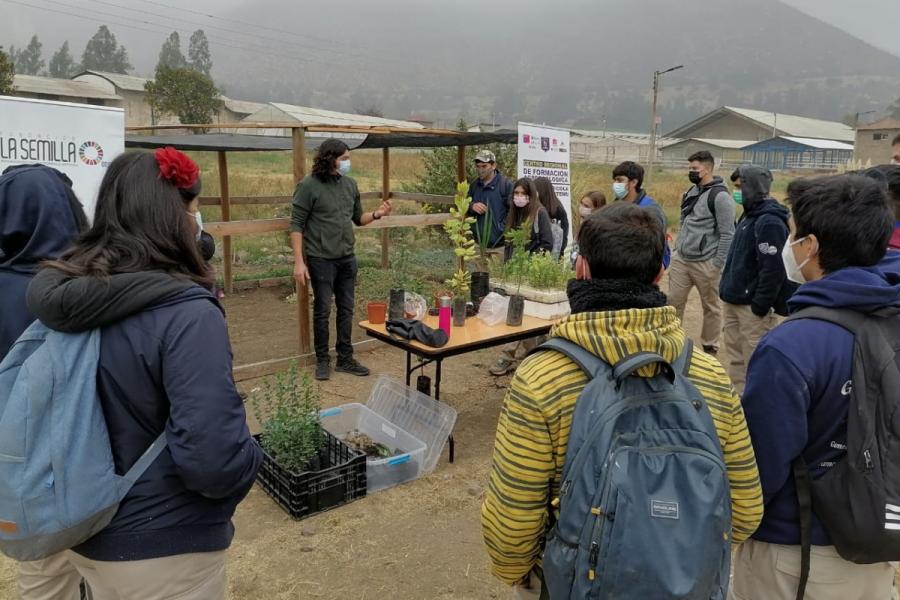 Taller de germinación de árboles nativos en Escuela Agrícola de Catemu